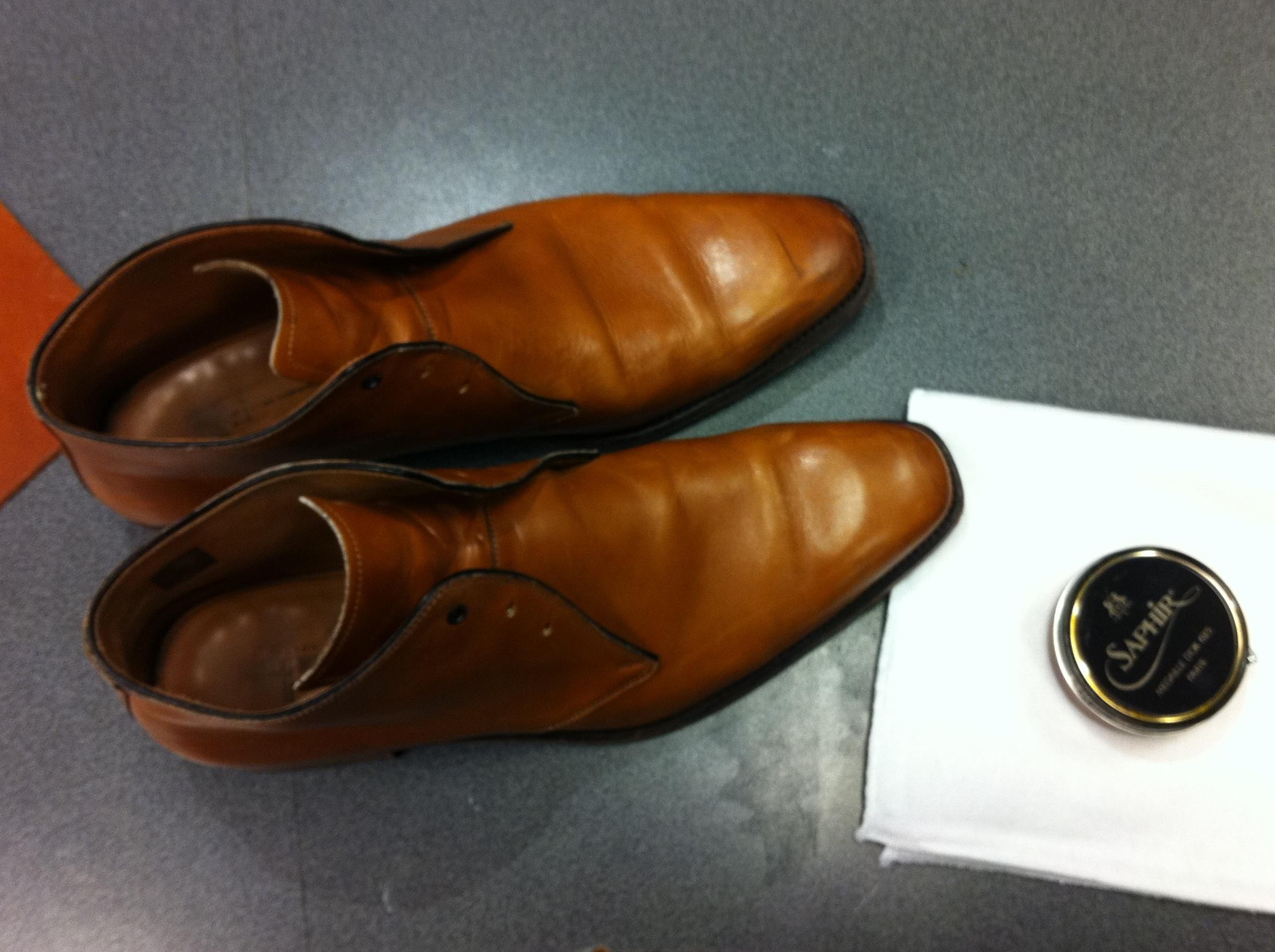 leren schoenen verven met schoenpoets