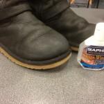Het eindresultaat! bij glimmende leersoorten de schoenen weer poetsen zoals normaal gedaan wordt.