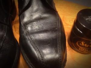 Te veel snelle schoenpoets gebruikt..